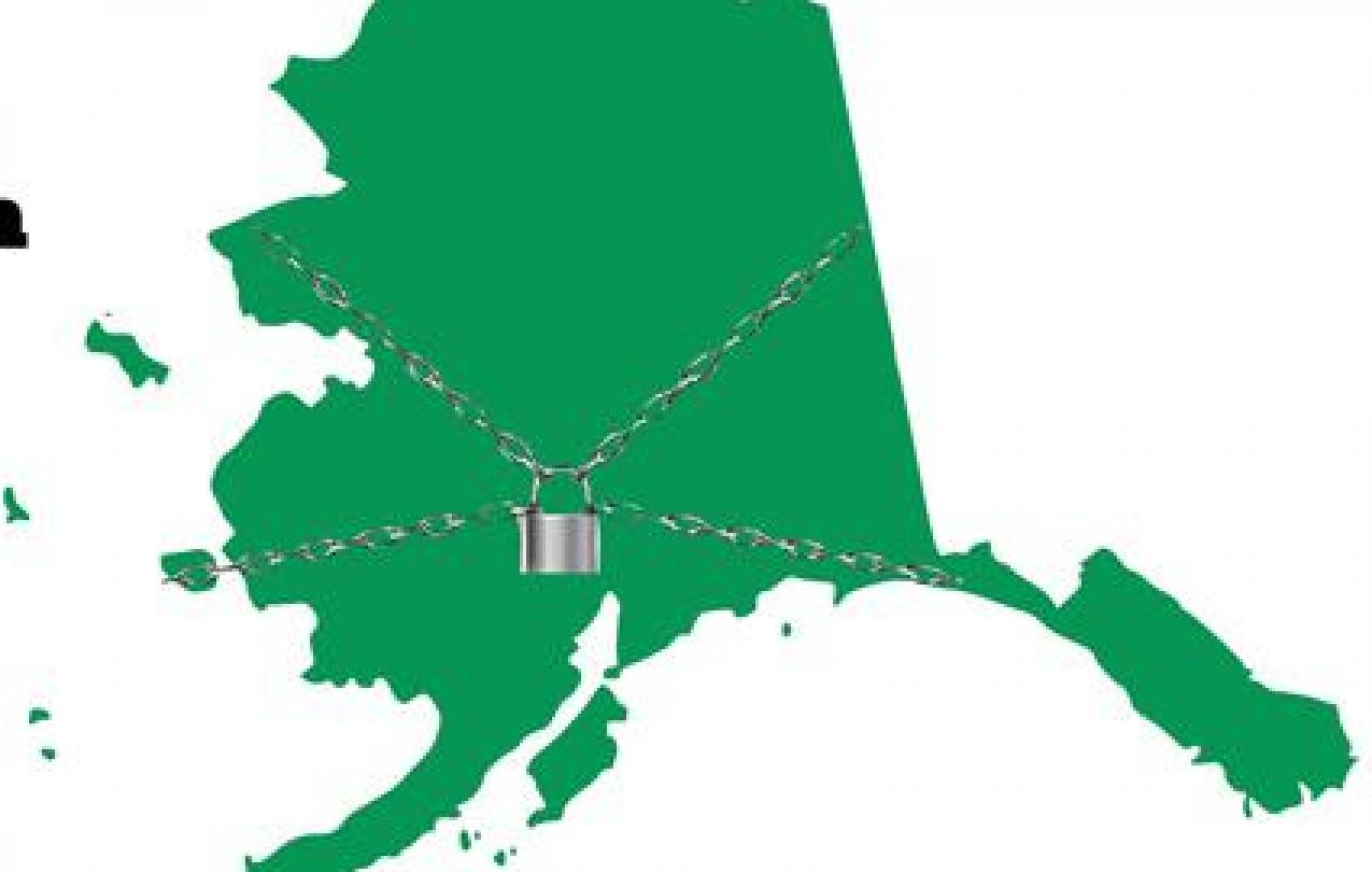 Rally flyer, outline of Alaska in chains