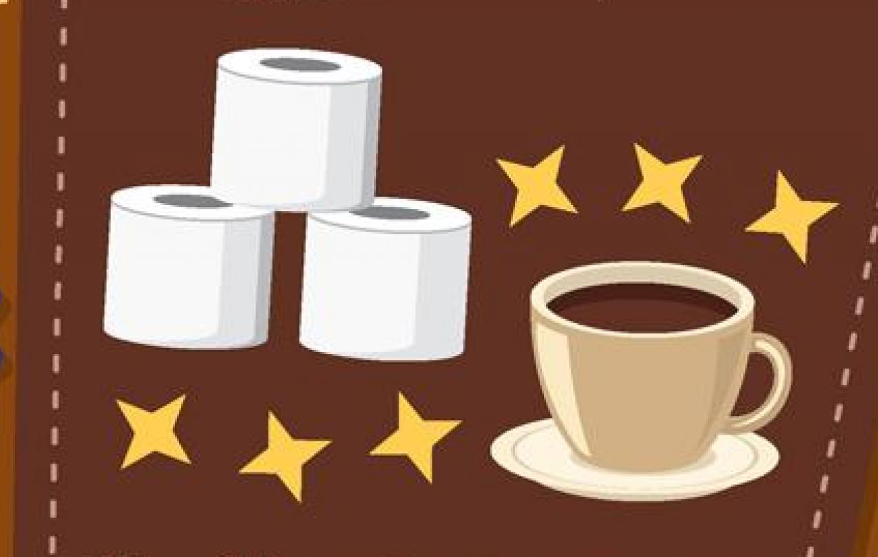 AMEA Gives Back Charity Drive Flyer, Imagery of toilet paper and coffee, and text details of why those items are needed for donation