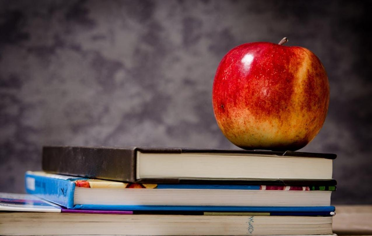 Books and an apple on a desk, to indicate education, CC0 from pexels.com
